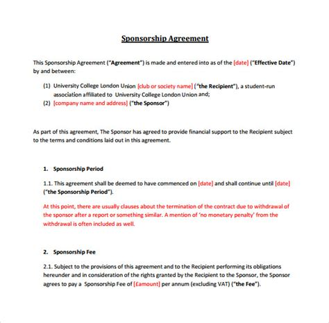 sample sponsorship agreement templates