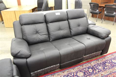 2 Piece Italia Black Leather Electric Reclining Sofa Set