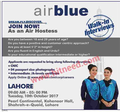 walk in interviews airblue air hostess october 2017 hit need