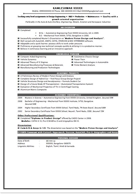 Completed Resume Exles by How To Write Resume Format For Freshers Platinum Class