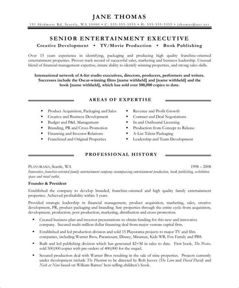 Entertainment Resume Template by Entertainment Executive Page1 Media Communications