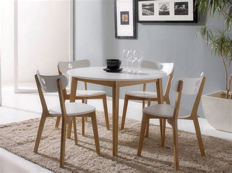 modern white dining table set for 4