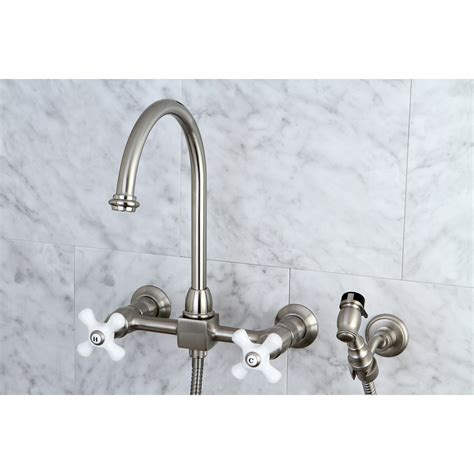 Wall Mount Kitchen Faucets With Sprayer by Kingston Brass Ks1298pxbs Restoration 8 Quot Wall Mount