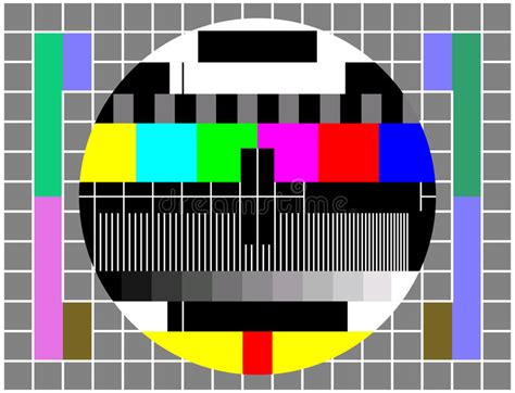 Vintage Tv Or Television Color Test Screen Stock Vector