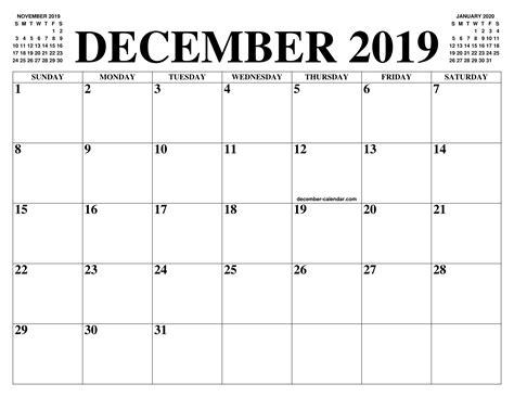december calendar month printable december