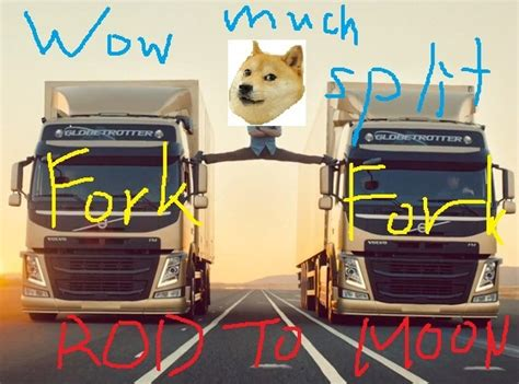 How I imagine the fork that happened earlier today : dogecoin