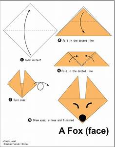 Origami Fox (face) - Easy Origami instructions For Kids