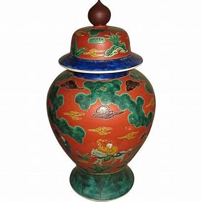 Kutani Japanese Antique Porcelain Covered Jar