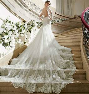 luxury lace wedding dresses royal cathedral train sexy With train wedding dress