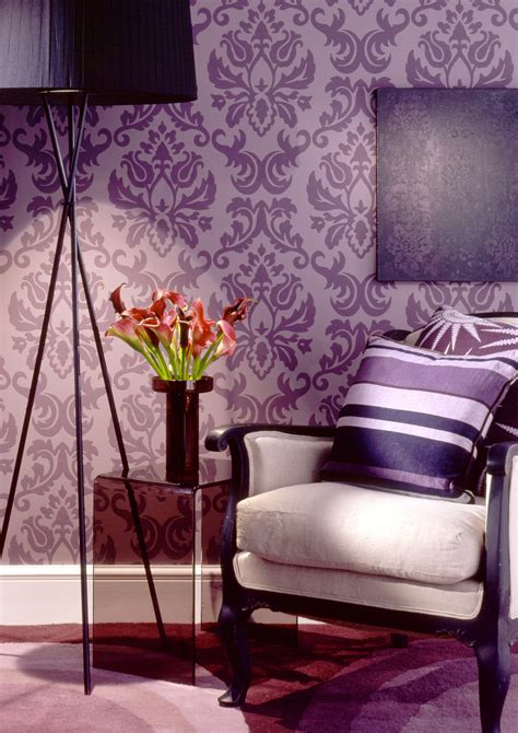 Grey And Purple Living Room Wallpaper by Purple Daniele Summerfield S