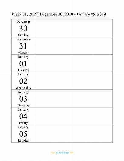 Weekly Calendar Blank Template Doc Pdf Word