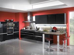 red and black color of modern kitchen design decobizzcom With black and red kitchen designs