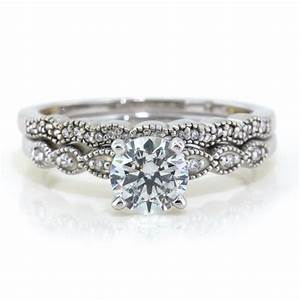 moissanite wedding set with diamond side by serenadediamonds With moissanite wedding rings sets