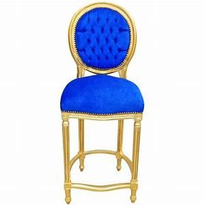 Chaise De Bar Bleu : chaise de bar de style louis xvi pompon velours bleu et bois dor ~ Teatrodelosmanantiales.com Idées de Décoration