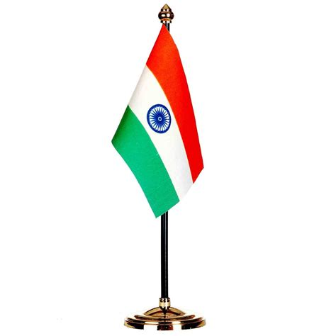 counter top sale indian table flag with golden plastic base and gold top