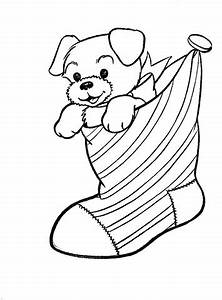 A Puppy Dog In A Christmas Stocking coloring page | Free ...