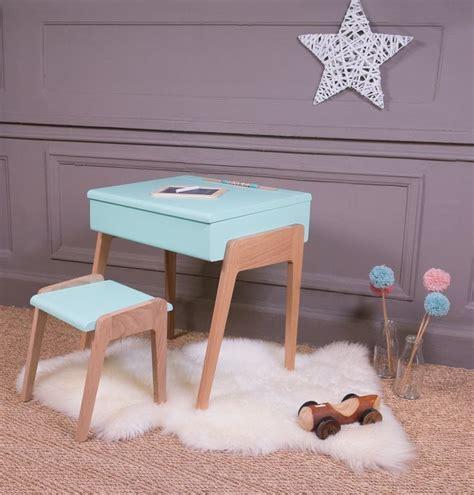 bureau peint pupitre bois peint bleu vintage bureau chambre enfant sol