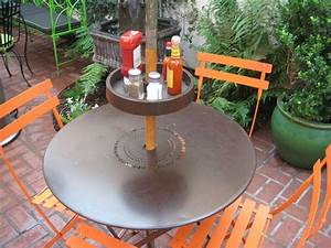Upshelf Detachable Umbrella Pole Shelf  Umbrella Table