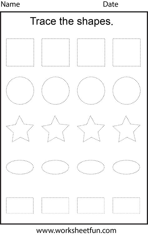 shape tracing  worksheet  printable worksheets