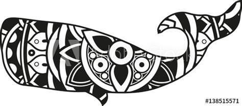 The svg is available free on my website. Vector illustration of a mandala whale silhouette - Buy ...