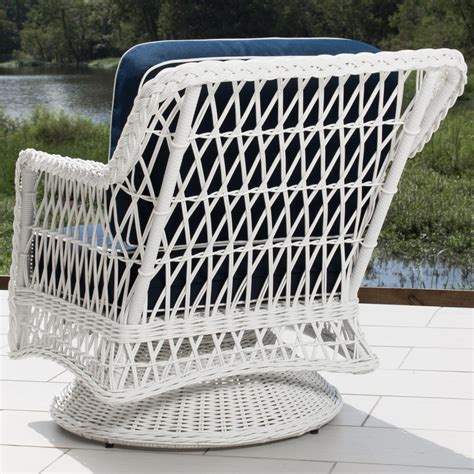 everglades white resin wicker patio swivel club chair by