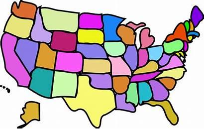 Map Usa Cartoony Clip Colored States Clipart