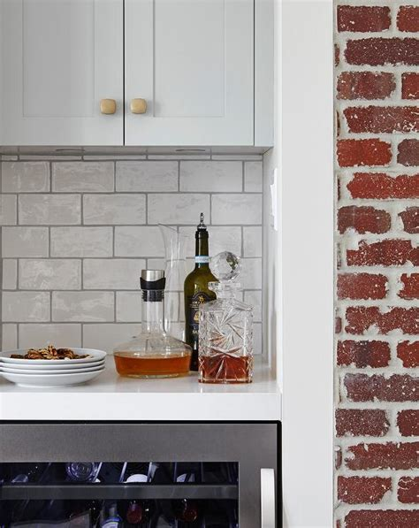 Kitchen White Exposed Brick Walls Design Ideas