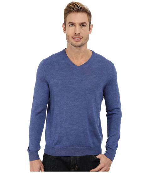 blue sweater calvin klein solid merino v neck sweater in blue for
