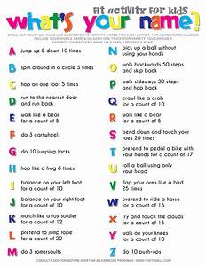What39s your name fitness activity printable for kids for Kids name letters