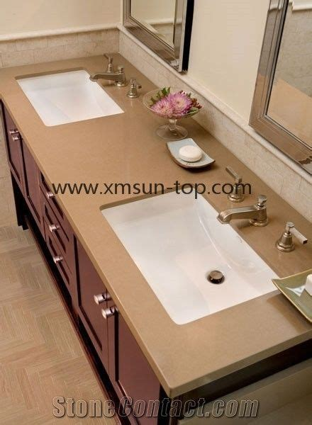 artificial quartz stone bathroom countertop brown crystal