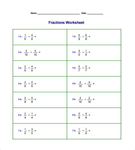adding and subtracting fractions worksheet with exles