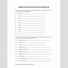 Mixed Ioniccovalent Compound Naming Worksheet For 9th  Higher Ed  Lesson Planet