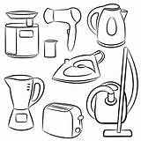 Appliances Household Coloring Electricity Pages Royalty Print Electronics Sketches Dreamstime sketch template