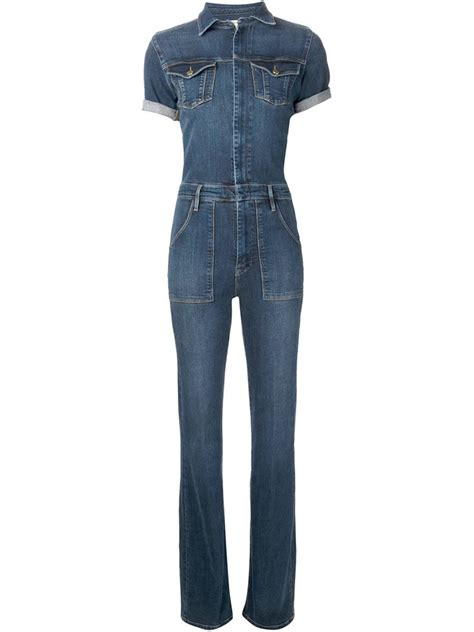 blue jumpsuits frame denim denim jumpsuit in blue lyst