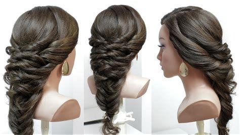 easy bridal prom hairstyle  long hair  fishtail