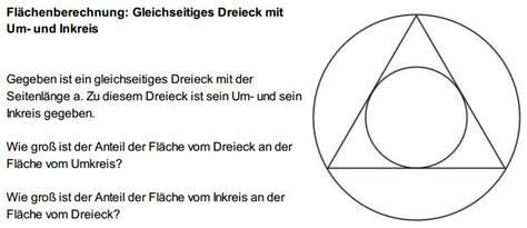 flaechenberechnung gleichseitiges dreieck mit umkreis und