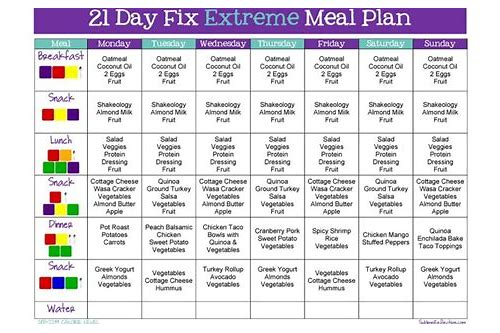 21 day fix extreme meal plan download