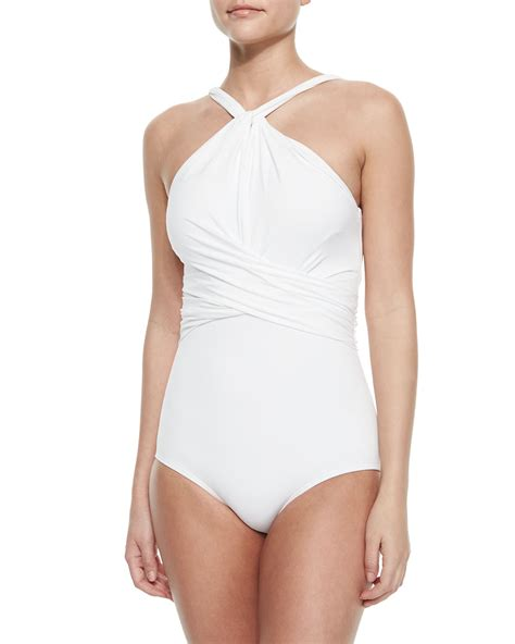 high neck one swimsuit michael kors twisted high neck one swimsuit in white