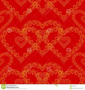 Valentines Day Seamless Texture Of Gold Hearts Red ...