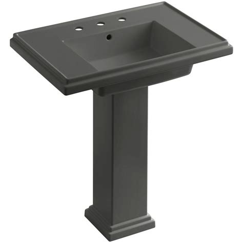 kohler tresham ceramic pedestal combo bathroom sink with 8 in centers in thunder grey with