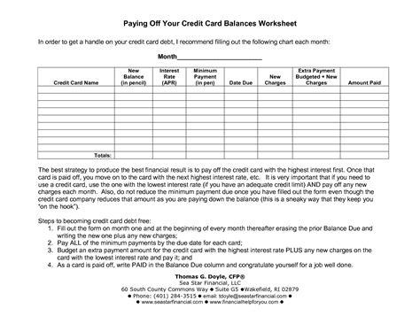 images  pay  credit card worksheet debt