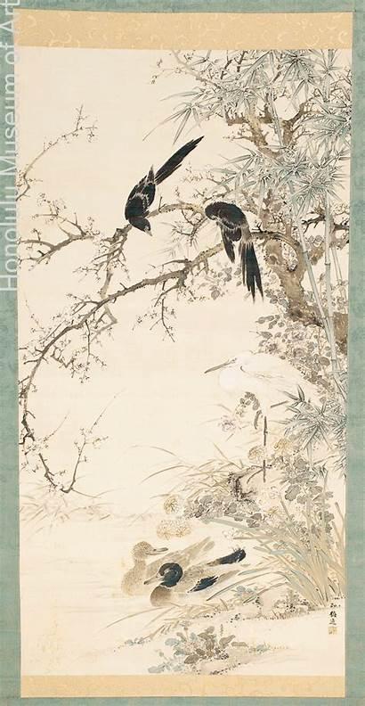 Painting Nanga Birds Literati Yamamoto Japanese Edo