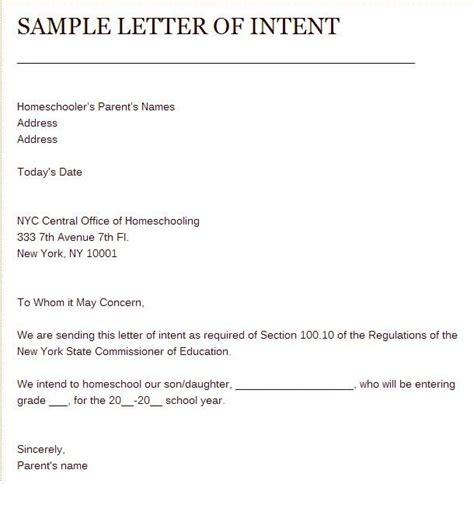 sample  letter  intent  homeschool home schooling