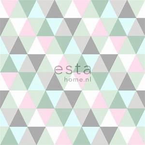 Papier Peint Rose Et Gris : papier peint intiss impression la craie triangles rose ~ Dailycaller-alerts.com Idées de Décoration