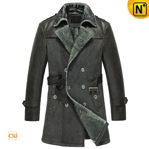 Mens Double Breasted Sheepskin Leather Coat CW856058