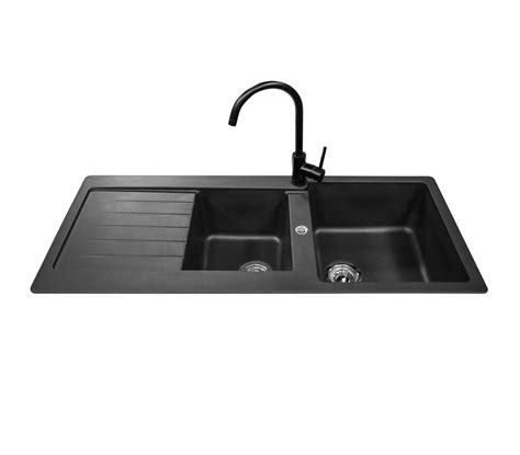 cheap black kitchen sinks abey schock typos 1 3 4 bowl package 1160x500mm 5240