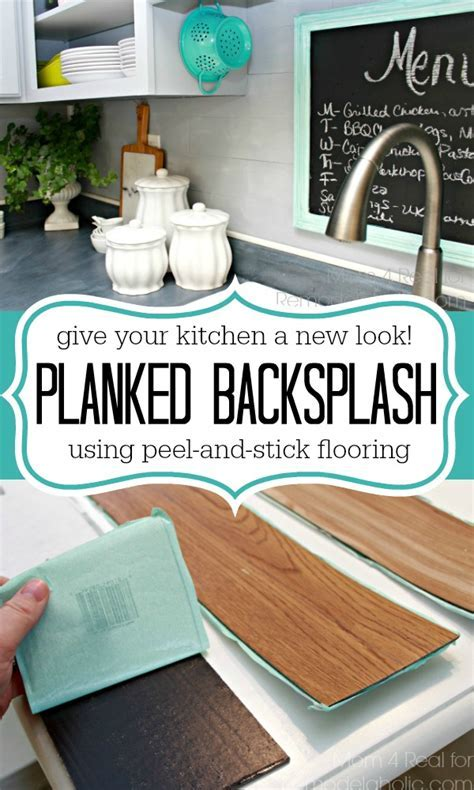 Inexpensive Backsplash Idea ~ Faux Plank Wall   Mom 4 Real