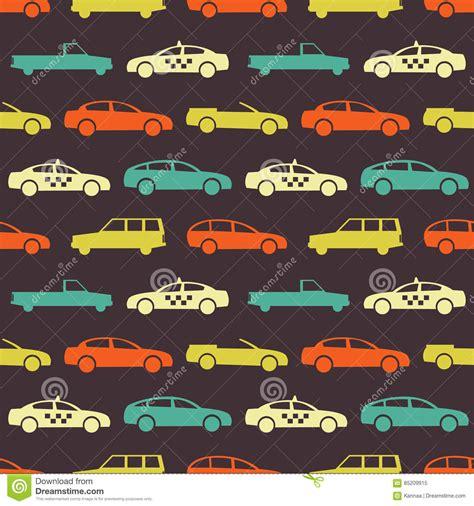 Seamless Pattern With Retro Cartoon Car. Vector Print