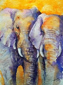 Arti's art -- Life as I see it: Amber Skies- Elephant Painting