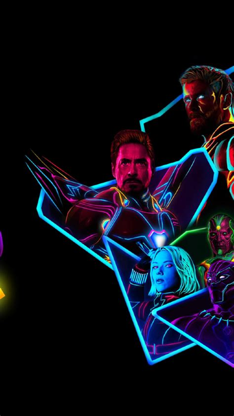 infinity war 80s neon style hd wallpaper